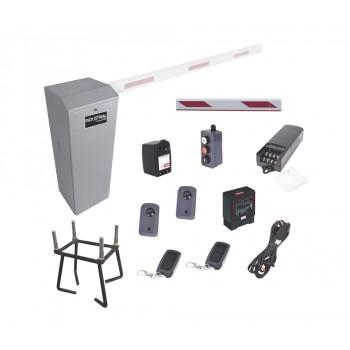 Kit Completo Barrera Derecha XB / 3M / Iluminacion LED Rojo / Incluye Sensor de Masa, Transformador, Lazo, Ancla, Fotoceldas, Botonera y 2 Controles Inalámbricos