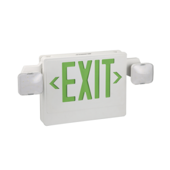 Señal de salida luminosa con batería y lámparas de emergencia, verde