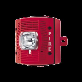 Bocina con Lámpara Estroboscópica para Exterior, con Configuración Estroboscópica Seleccionable, Color Rojo